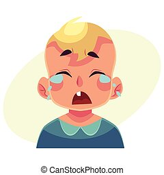 Little boy face, crying facial expression, cartoon vector...