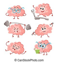 Funny brain training with barbell, dumbbells, on treadmill,...