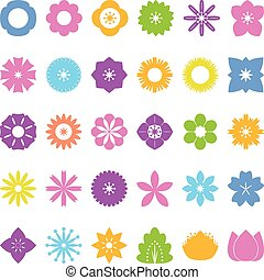 collection of flower icons, vector, flat icon on white...