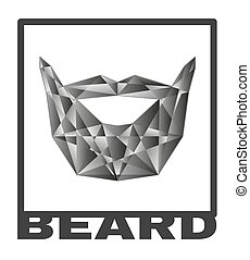 Beard logo. grafic poly beard isolated ollustration. vector...