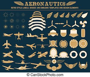aeronautics labels templates set - Aeronautics retro style...