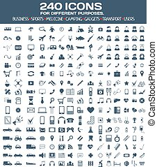 Big icons set for different purposes. - Set of 240 icons for...