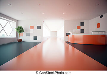 Red office lobby - Modern red interior with reception desk....