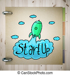 Start up concept - Top view and close up of brown notepad...
