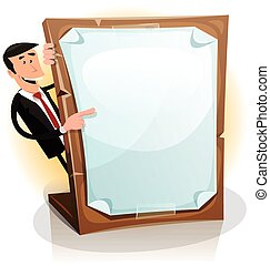 Cartoon White Businessman Holding A Paperboard
