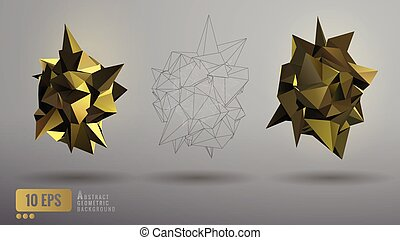 Low poly abstract  golden geometric shape
