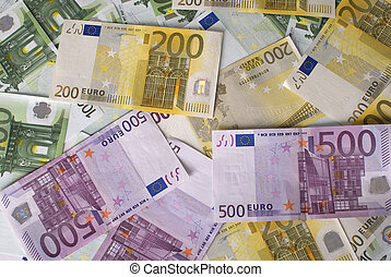 primo piano, 100, 200, 500, euro, banconote, soldi