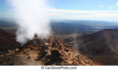 Steam activity in New Zealand - Volcanic activity on Mount...
