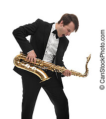 Saxophonist playing saxophone hard rock with a funny face....
