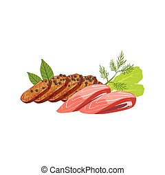 Meat And Fish Set Of Pizza Ingredients. Vector Illustration...