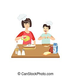 Mother And Child Cooking Together Illustration