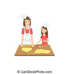 Mother And Child Making Cookies Together Illustration