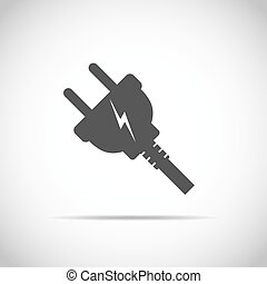 Wire plug icon. Vector illustration. Wire plug in flat...