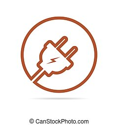 Wire plug icon. Vector illustration. - Wire plug icon in...