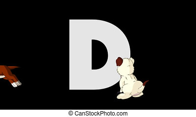 Letter D and Dog (foreground) - Animated animal alphabet....
