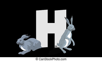 Letter H and Hare (foreground) - Animated animal alphabet....