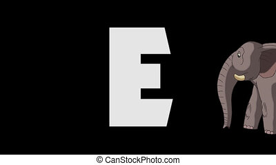 Letter E and Elephant (foreground) - Animated animal...