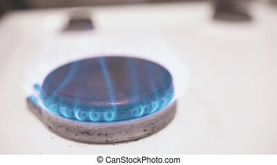 Burning gas burner close up 4k