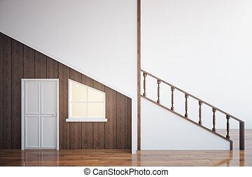Wooden loft interior - Side view of modern wooden interior...