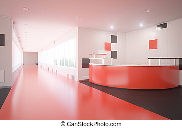 Red office lobby - Modern red interior design with reception...
