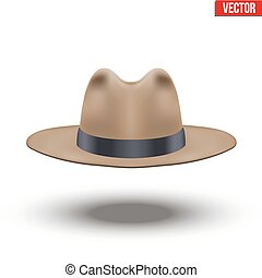 Classic Men Hat. Brown color with black ribbon. Accessory...
