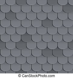 Shingles roof seamless pattern. Black color. Classic style....