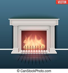 Fireplace in house cozy room. Realistic style design. Vector...
