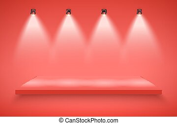 Red Presentation platform - Light box with red platform on...