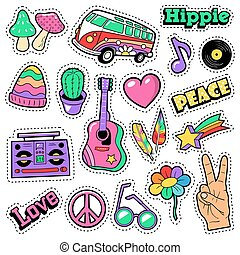 Fashion Hippie Badges, Patches, Stickers