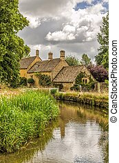 River Eye at Lower Slaughter - River Eye and historic...