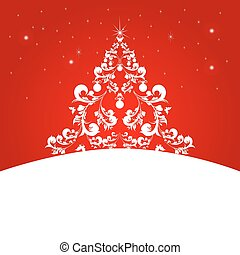 Christmas tree, red card