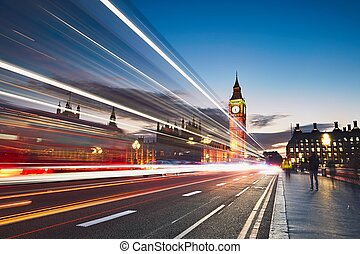 Westminster bridge at the dusk - Light trails on the...