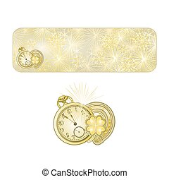Button  New Year fireworks  with watches and lucky symbols vector.eps