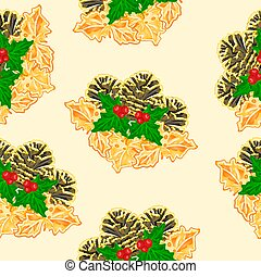 Seamless texture pine cones and holly vector.eps - Seamless...