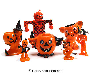 Rare Antique Halloween candy cup and cake toppers - Witches,...