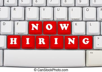 Now hiring - Computer keyboard keys displaying now hiring,...