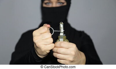 Islamic terrorists with grenade - Islamic terrorists woman...