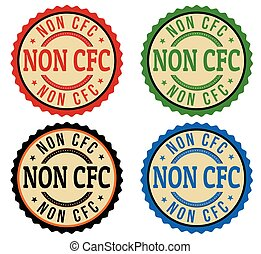 Non CFC product stickers set on white background, vector...