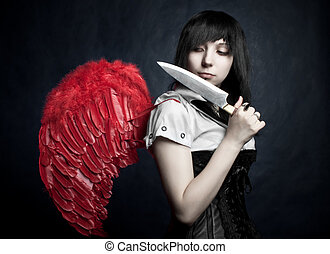 Maniac angel - pretty gothic girl with red wings and knife...
