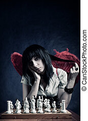 pretty gothic with chess board