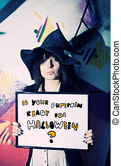Is your pumpkin ready for Halloween? - Pretty witch with...