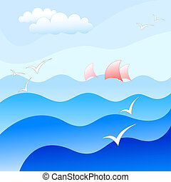 sea background - blue sea background with beautiful waves