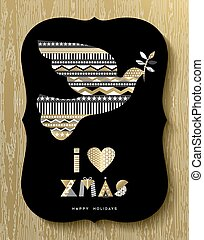 Gold Christmas Holiday design of modern dove bird