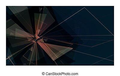 black card - collapsing abstract glass background, vector...
