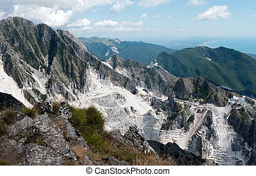 Carrara - mountains and coast - The famous white marble...
