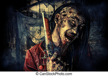 evil everywere - Horror novel character. Aggressive angry...