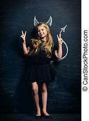 little imp girl - Funny little imp girl. Cute child girl...