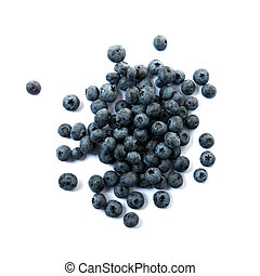 scattered  blueberries - blueberries on a white background