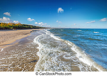 Baltic sea and the Gulf of Danzig coast in Poland. Blue...