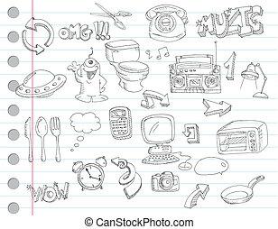 Doodle set 2 - Notebook paper doodles Set number 2